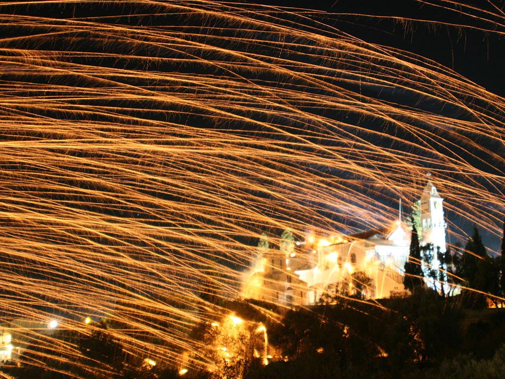 Battle d'église sur l'île de Chios en Grèce