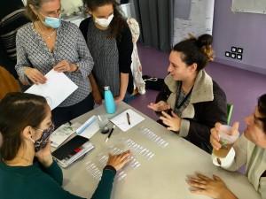 Travail en groupe sur le classement des mots en fonction des la langues